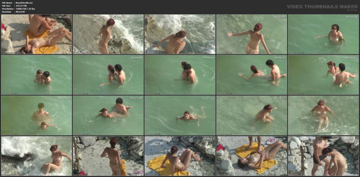 Group sex action on the beach