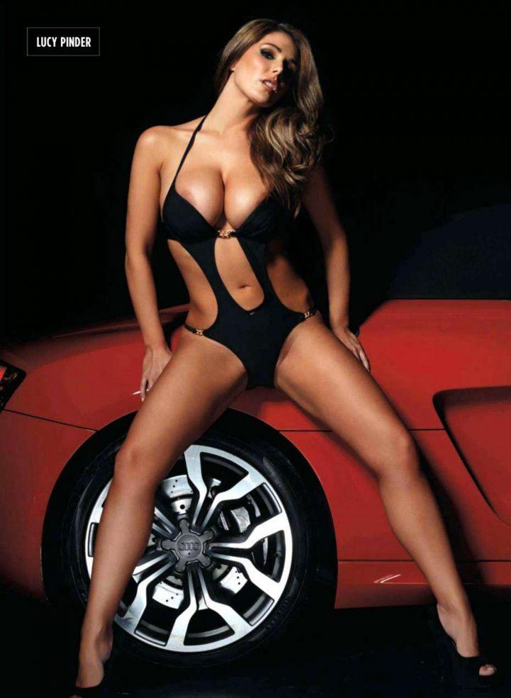 Lucy Pinder exposes nude boobs seducing close the car