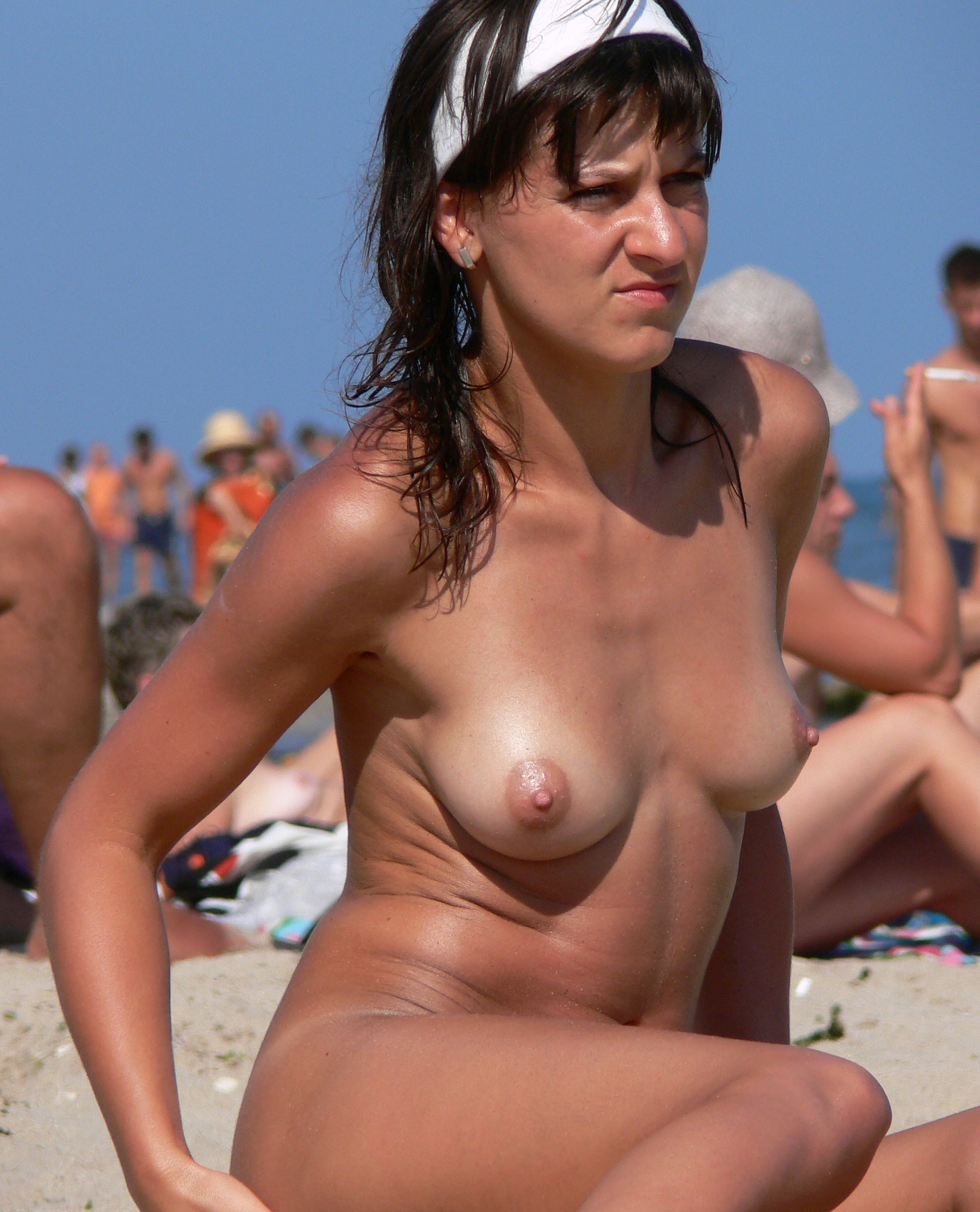 Nude models on beach
