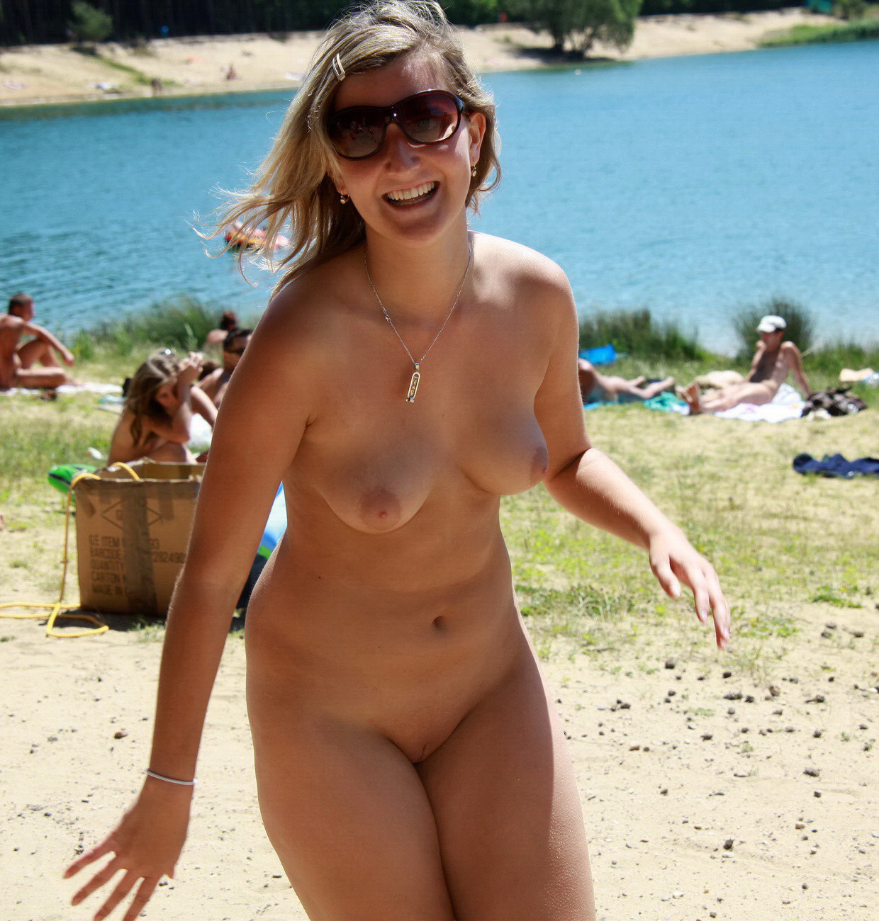 Girls nude playing in stream