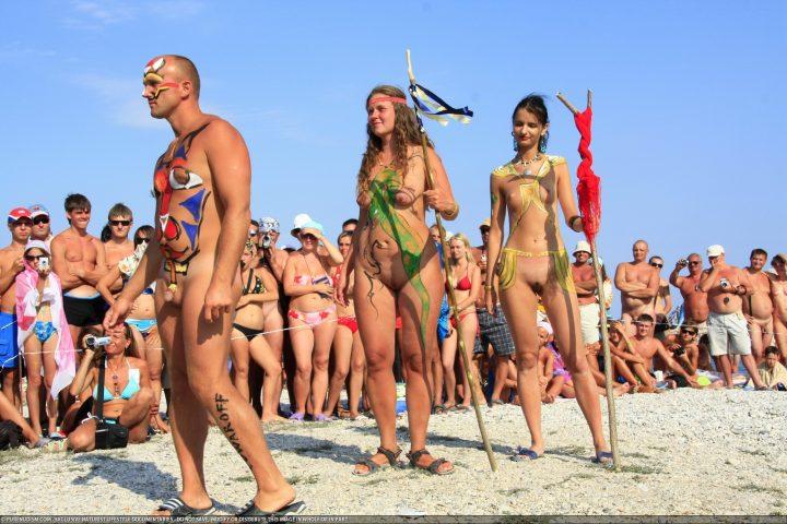 Nudists family nude beach