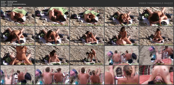 Hot teen couple caught fucking on the beach