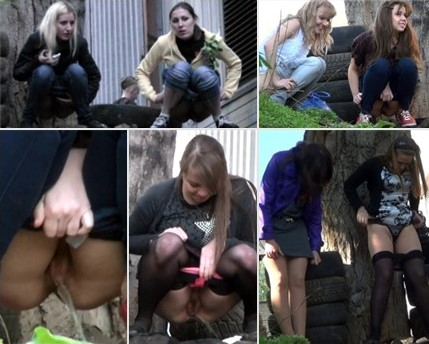 Girls pee in the car park 1