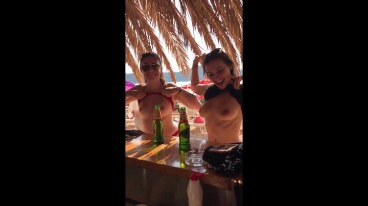 Girls Flashing Boobs in the Beach Bar