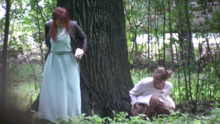 Russian outdoor pissing near wedding
