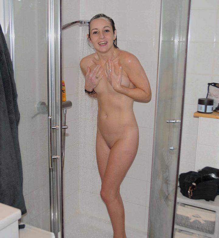 Beautiful French Girlfriend Naked Posing Indoor Outdoor