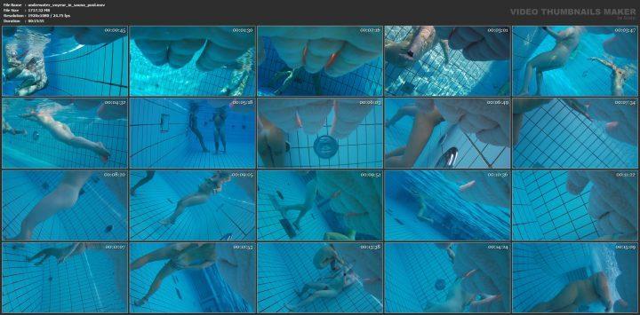 Underwater voyeur in sauna pool