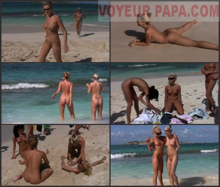 Family Pure Nudism Many teens on public beach