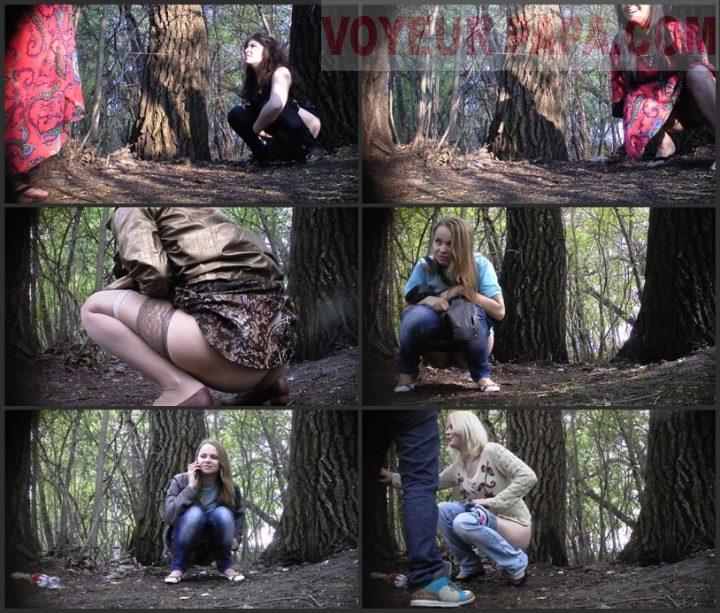 Women pee in the park